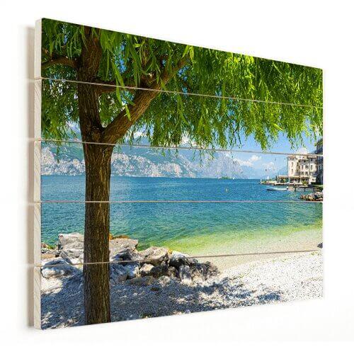 Foto op hout met strand