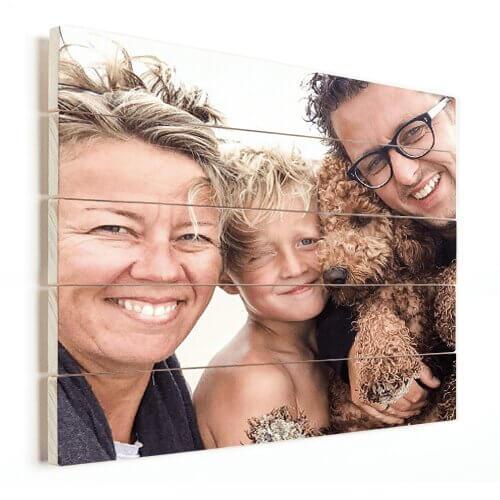 Foto op hout met gezin